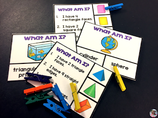 3D geometry centers - sort 3D shapes, describe and recognize 3D shapes by their attributes, build models of 3D shapes.  Engage students with fun, hands-on centers.