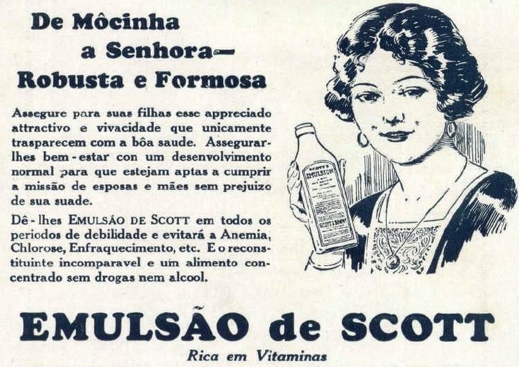 Propaganda antiga do Emulsão de Scott indicado para mulheres em 1927