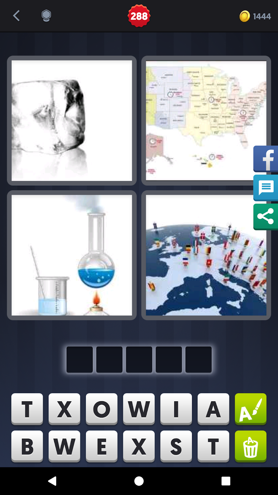 4 pics 1 word answers solutions level 288 state keyword 5 letter word ice freeze map world melt state expocarfo Images