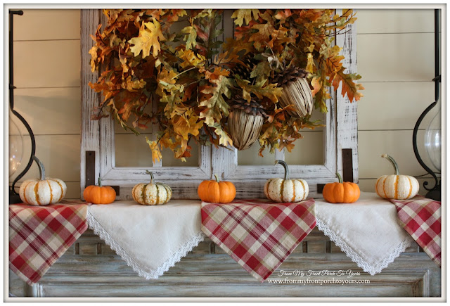 Fall Mantel- Mini Pumpkins- Cloth Napkin Banner-From My Front Porch To Yours