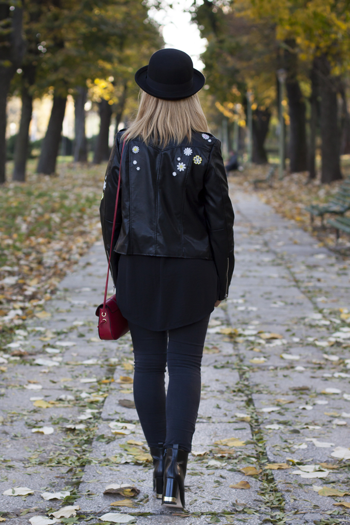 zaful embroidered leather jacket