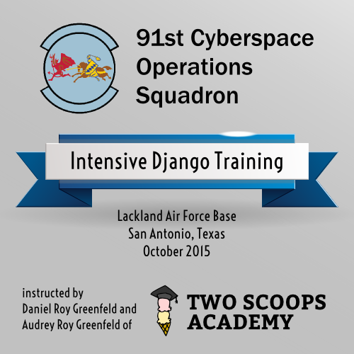 Our intensive Django training at Lackland Air Force Base in San Antonio, Texas.