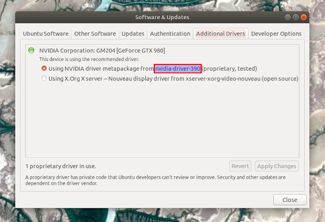 Additional drivers tab nvidia proprietary Ubuntu