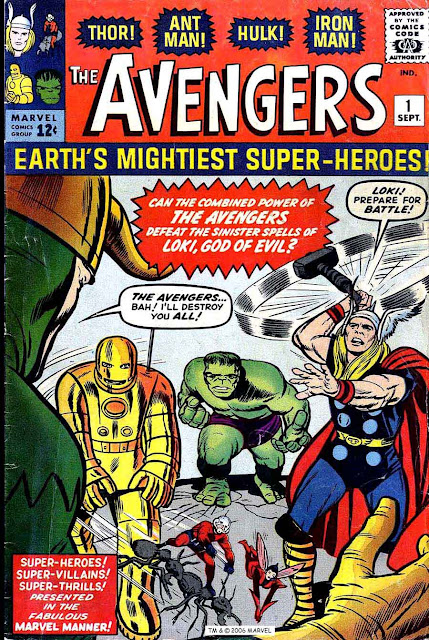 Avengers v1 #1, 1963 marvel silver age comic book cover by Jack Kirby