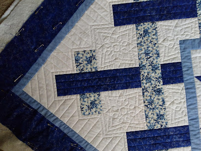 corner quilting detail on blue and white patchwork quilt