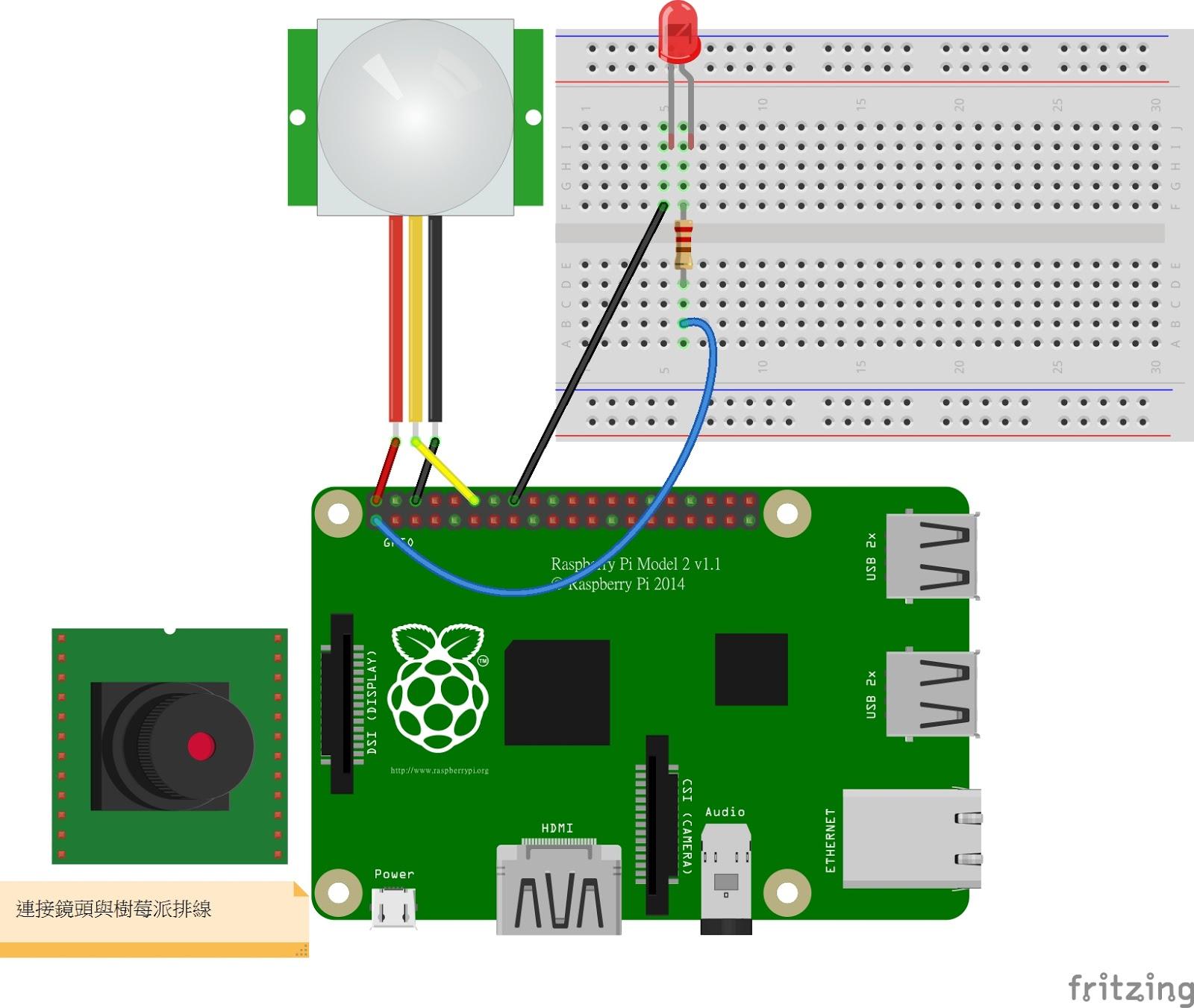 Raspberry Pi 筆記(71):HC-SR501偵測到移動物體拍照存檔   天花板隨記