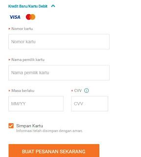 Cara menggunakan kartu Kredit di Lazada