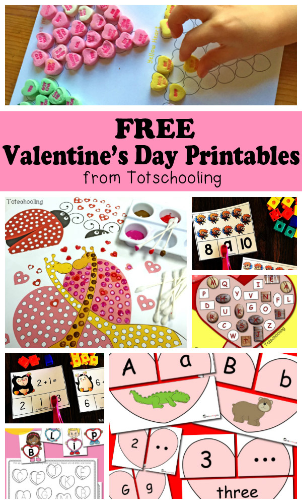 FREE Valentine's Day printables for toddlers, preschool and kindergarten kids. Large collection of activities including alphabet, letter tracing, counting, addition, sight words, puzzles, q-tip painting, tracing, matching, conversation candy hearts activities and more!