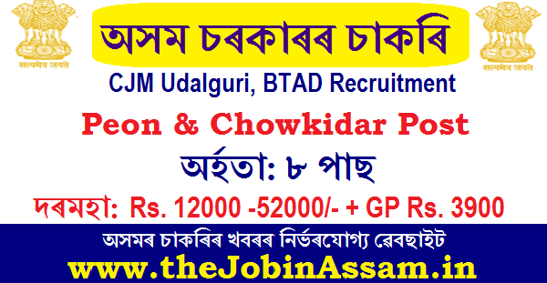 CJM Udalguri, BTAD Recruitment 2020