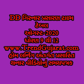 DD GIRNAR Prasaran August Month Time table For std 9 to 12 Home Learning Online Education