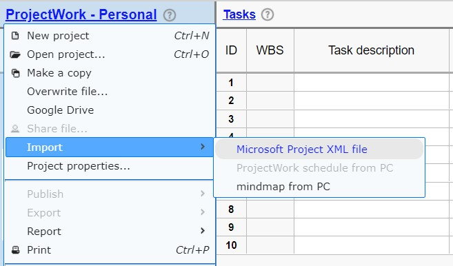 ProjectWork - Import Microsoft Project