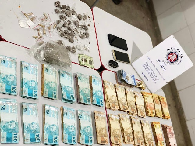 Polícia apreende 25 mil, drogas e prende quatro suspeitos na Região Metropolitana