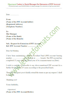 letter to bank manager for extension of ppf account