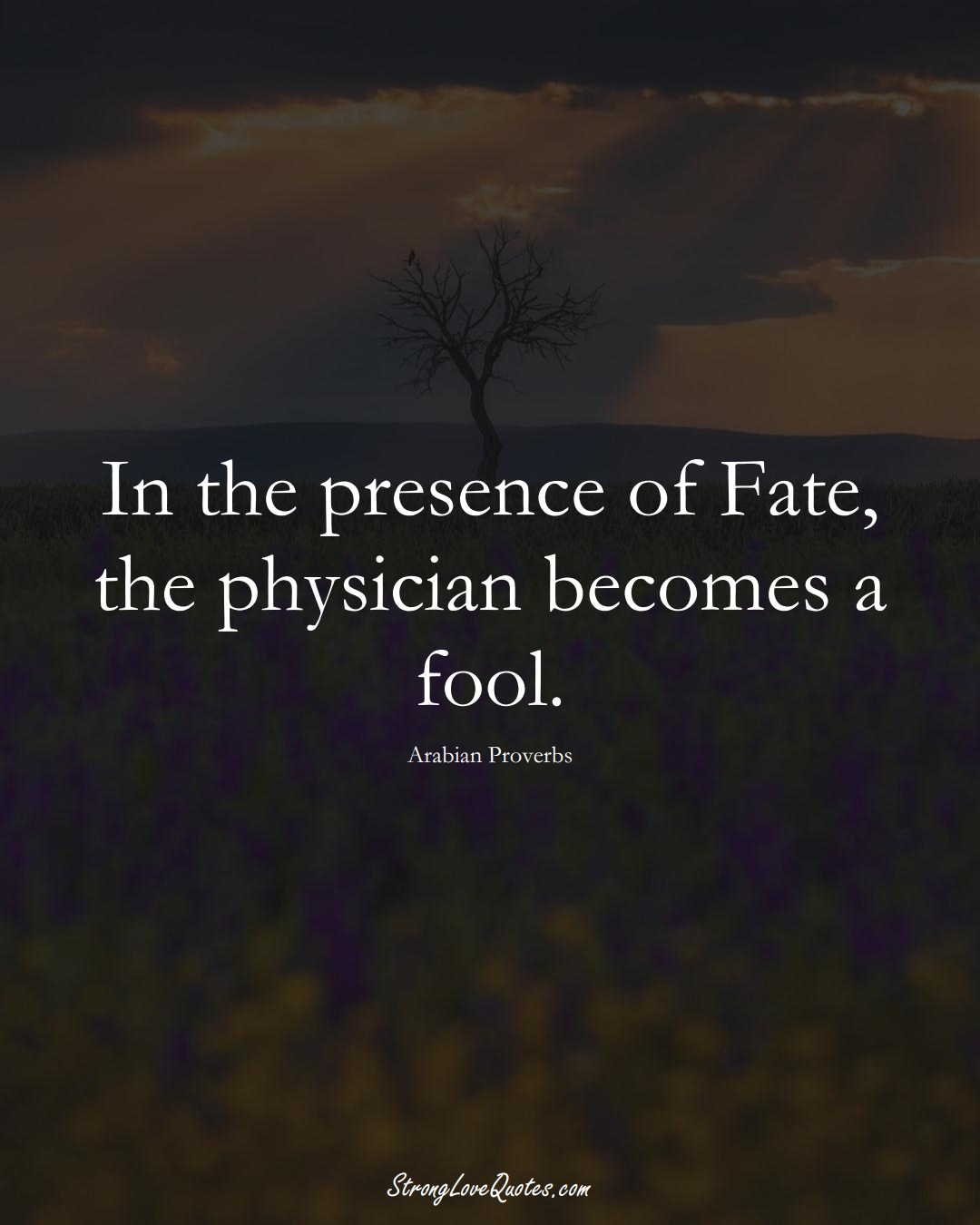 In the presence of Fate, the physician becomes a fool. (Arabian Sayings);  #aVarietyofCulturesSayings
