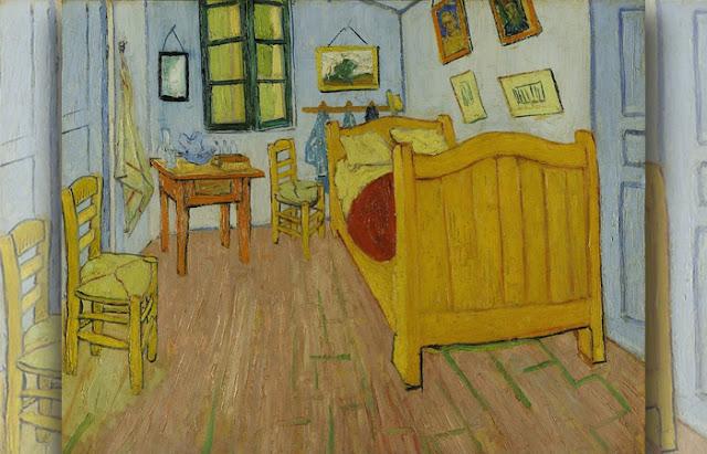 O quarto em Arles, Primeira versão, outubro de 1888. Óleo sobre tela, 72 x 90 cm, Museu Van Gogh, Amsterdam