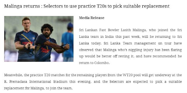 Knee niggle forces Lasith Malinga to return home
