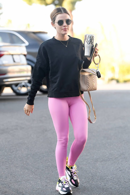 Lucy Hale – In a pink leggings arrives at a pilates class in Los Angeles