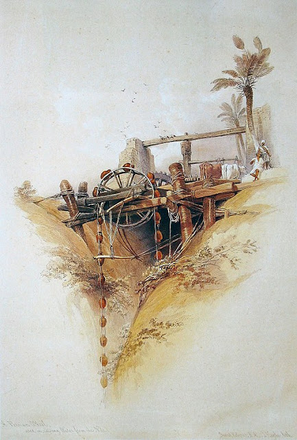 Persian water-wheel, used for irrigation in Nubia - By David Roberts