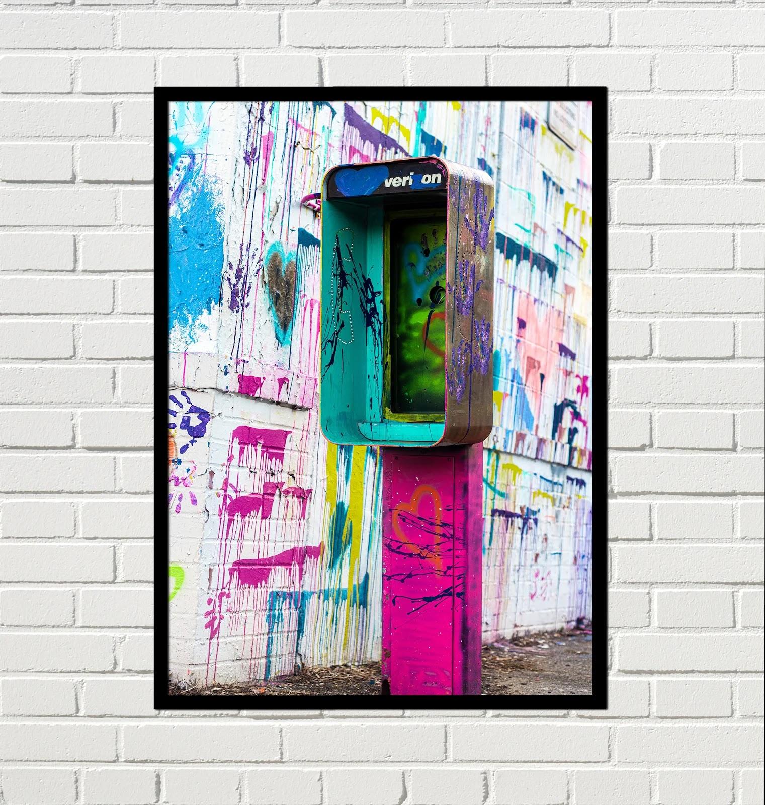 Cuadro Urbano cabina telefonica rosa punk