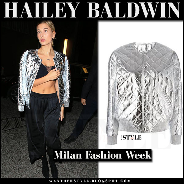 Hailey Baldwin in silver quilted bomber jacket saint laurent what she wore milan fashion week