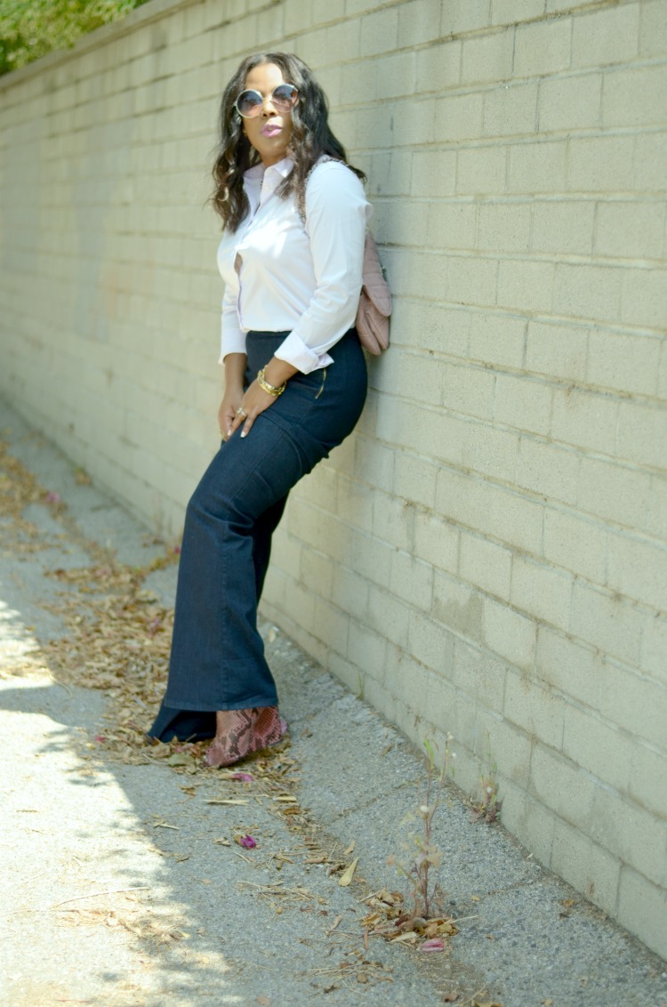 Sleek Seventies 70s Style- wearing Christian Siriano Snakeskin Wedges-Guess Bella Bella Flare Jeans-Uniqlo Button Down Shirt