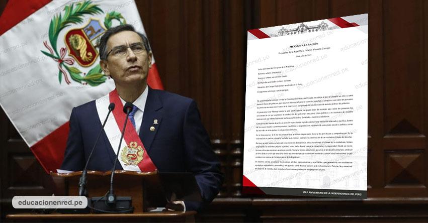 Texto Completo «Mensaje a la Nación» del presidente Martín Vizcarra por Fiestas Patrias [Mensaje Presidencial 28 Julio 2019] DESCARGAR.PDF