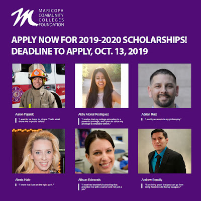 Poster featuring past scholars.  Mariocpa Community Colleges Foundation logo.  Text: Apply now for 2019-2020 scholarships.  Deadline to apply, Oct. 13, 2019