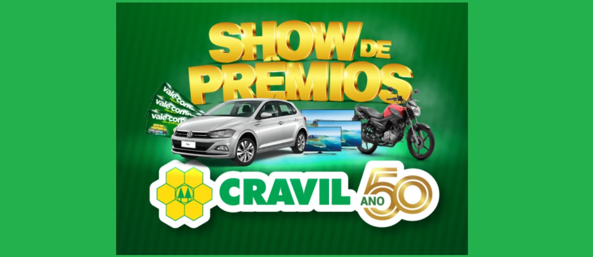 Promoção Cravil 50 Anos Aniversário 2021 Show de Prêmios - Carro, Motos e Mais