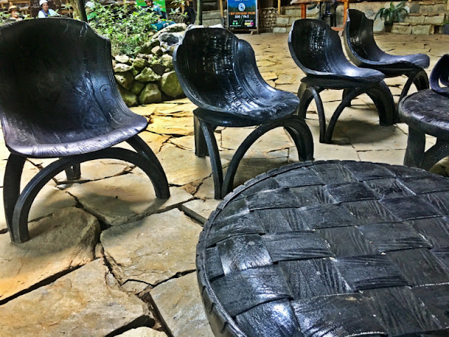 kampojuan tables and chairs are made of rubber seemingly from used tires