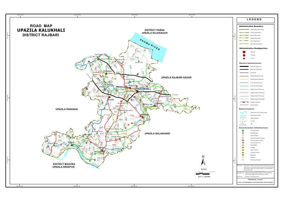 Kalukhali Upazila Road Map Rajbari District Bangladesh