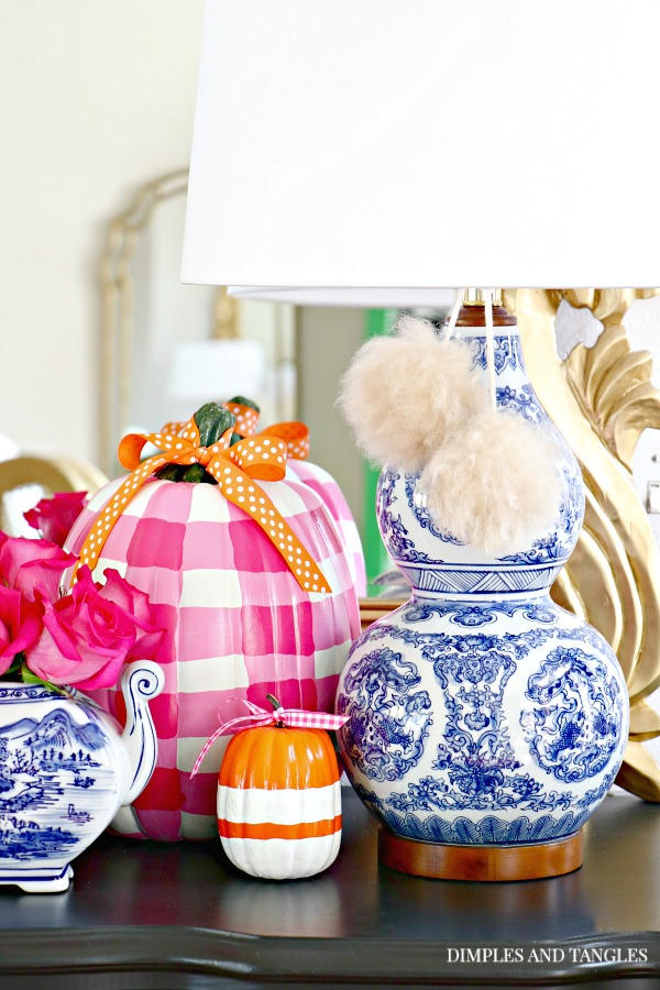 blue and white, lamps plus esther lamp, fur pom poms, gingham pumpkin, painted pumpkins, hot pink roses