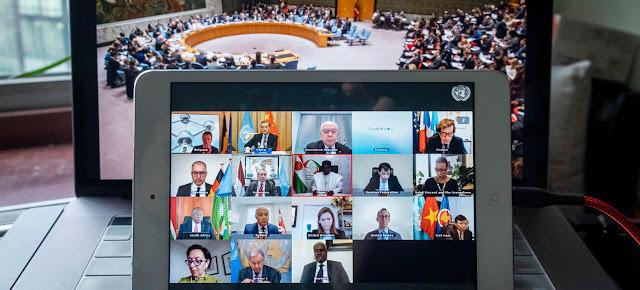El Consejo de Seguridad en una sesión virtual sobre gobernanza global después de la crisis del COVID-19.ONU/Loey Felipe