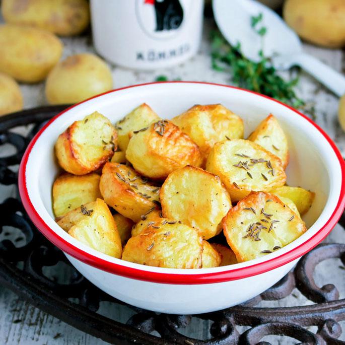 Recept In de oven geroosterde aardappeltjes met kummel