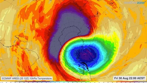 Un calentamiento estratosférico repentino se está extendiendo por partes de la Antártida en este momento.