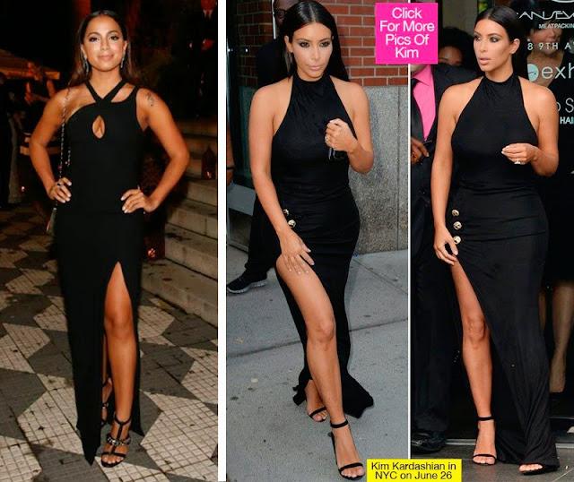 Anitta na primeira foto e  Kim Kardashian nas últimas duas vestido preto