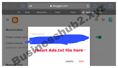 Inputting custom ads.txt file file on blogger for Ezoic