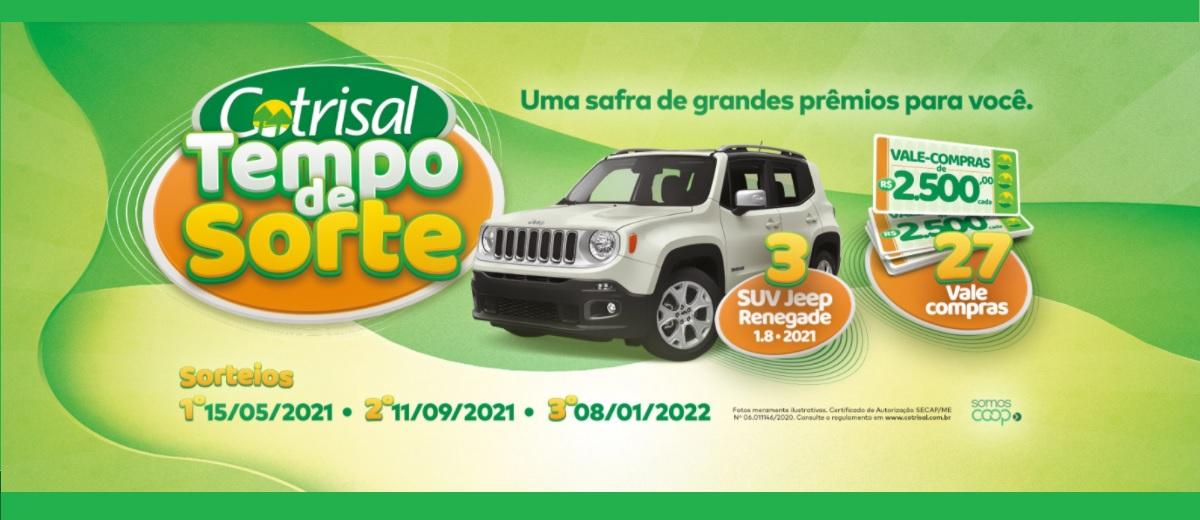 Participar Tempo de Sorte Promoção Cotrisal 2021 2022 - Vales-Compras e 3 Jeep Renegade