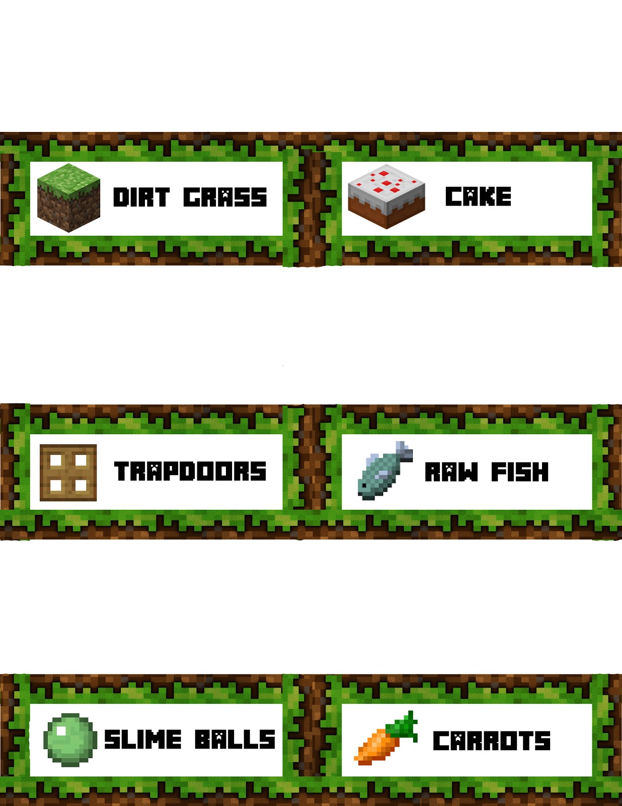This is a photo of Breathtaking Minecraft Birthday Food Labels