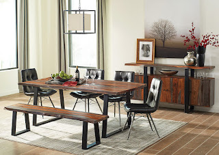 Casual dining room table with bench