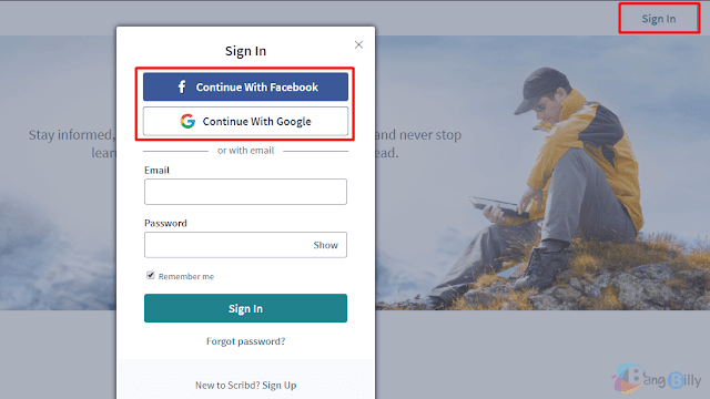 Sign in > Continue With Facebook / Google