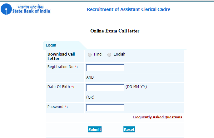 SBI Clerk 2014 Admit Card / Call Letter Download at ibps.sifyitest.com