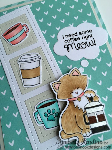 Newton Loves Coffee card | Newton's Nook Designs | kimpletekreativity.blogspot.com | coffee | papercrafts
