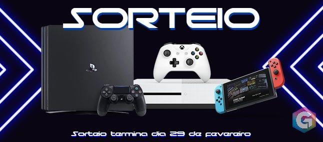 Sorteio de Um: Xbox One S / Nintendo Switch Lite / PS4 Slim de sua escolha!