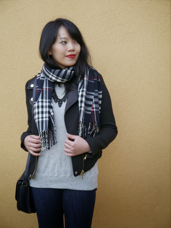 scarf over a statement necklace