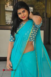 Telugu Actress Alekhya Stills in Green Saree at Swachh Hyderabad Cricket Press Meet  0028.JPG