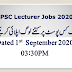 PPSC Lecturers Total Applications Submitted Status September 01, 2020 03:30PM