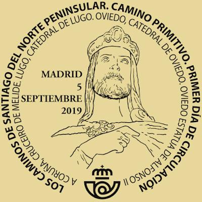 Matasellos Primer Día de Circulación de los sellos del Camino Primitivo