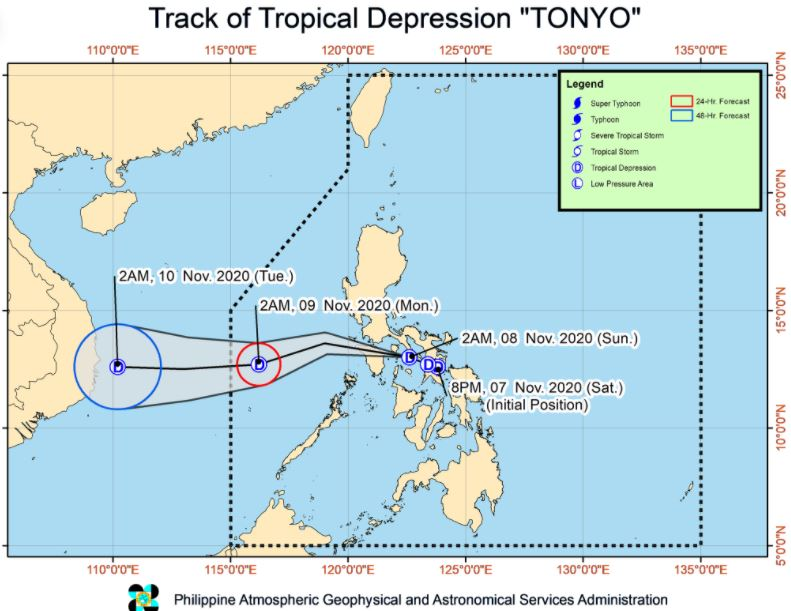 'Bagyong Tonyo' PAGASA weather update November 8, 2020