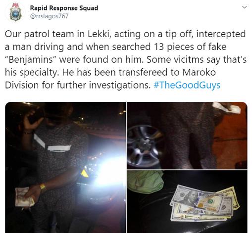 PHOTOS: Man caught with fake dollars in Lekki