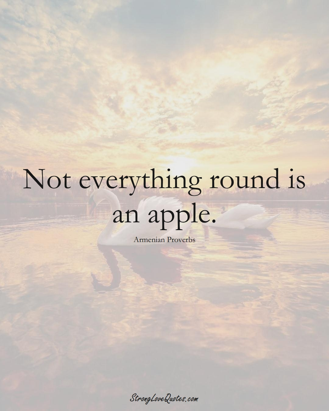 Not everything round is an apple. (Armenian Sayings);  #AsianSayings